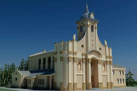 Wizualizacja frontonu kościoła pw. św. Jana Pawła II w Ignatkach-Osiedle